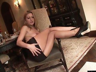 Whorish Blonde Avy Scott Finger Fucks Her Asshole While Big Black Cock Drills Her Spread Twat