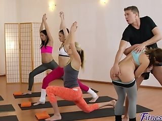 Horny Yoga Coach Fucked Amy Crimson & Yenna Black In The Gym