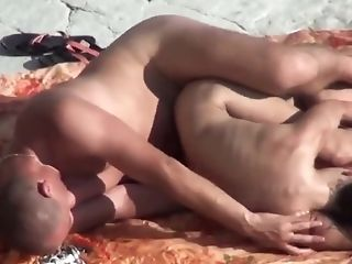 Peeping Tom On Public Beach. Fuck-fest With Doll With Silicone Titties