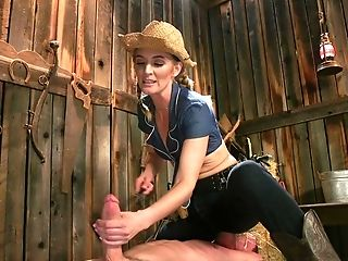 Blonde Cowgirl Mona Wales Pegs A Dude And Strokes His Dick