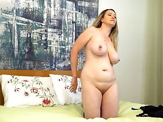 Fairly Buxom And A Bit Chubby Housewife Anastasiya Lazily Taunts Herself