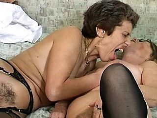Rough Girl/girl Granny Faux-cock Sharing