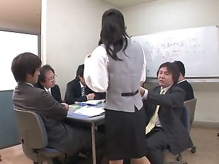 Huge-titted Office Lady Gets A Gang-bang From Her Peers