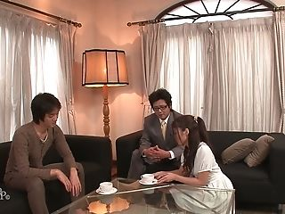 Lewd Hubby And His Friend Undress Deviant Wifey Aoi Miyama And Fuck Her Well