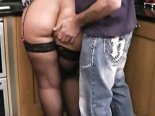 Cheating Fat Wifey Rails His Man-meat On The Floor