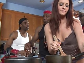 Sandy-haired Housewife Cici Rhodes Gang-fucked And Creampied By Black Guys
