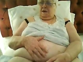 Supah-sized Brit Granny In Black Undergarments