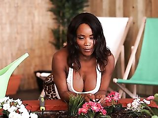 Dark Skinned Beauty Kiki Minaj Exposes Her Sexy Titties With Big Puffies