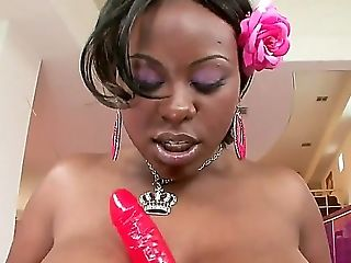 The Prepossessing Black Whore Mahogany Bliss Shows Her Backside And Plays With A Pink Faux-cock